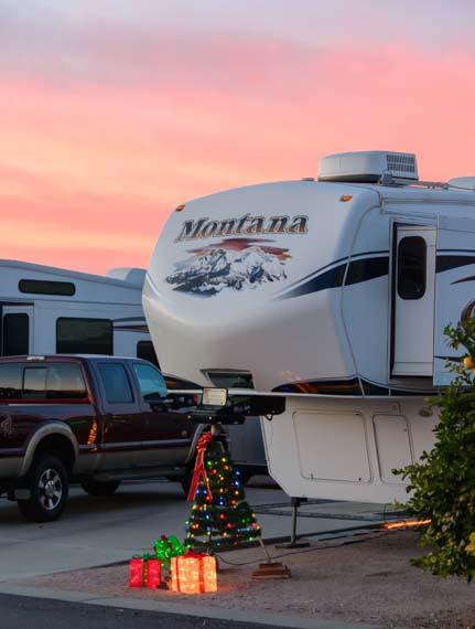 ViewPoint RV & Golf Resort Christmas tree lights fifth wheel trailer