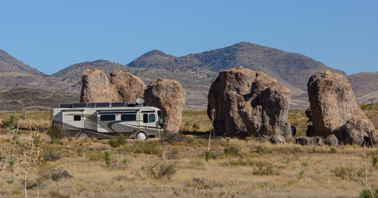 RV camped at City of Rocks Campground New Mexico