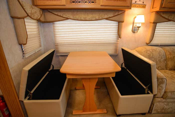 Increase RV storage with ottoman bench storage in dinette