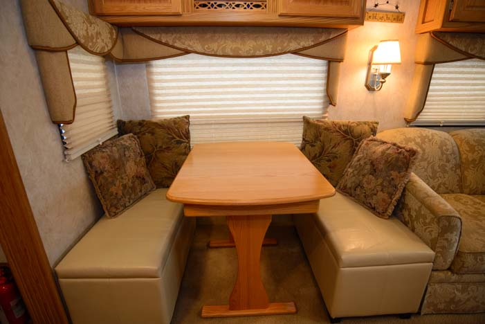 RV dinette storage bench ottoman
