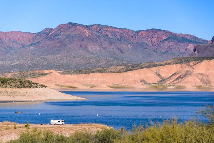 Lakeside RV boondocking Roosevelt Lake Arizona