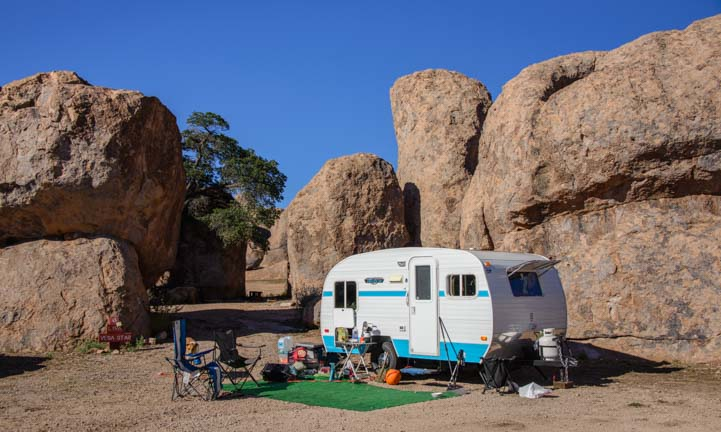 Camping in an RV at City of Rocks New Mexico