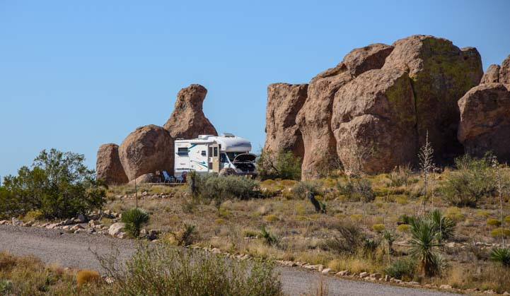 Motorhome camping at City of Rocks New Mexico