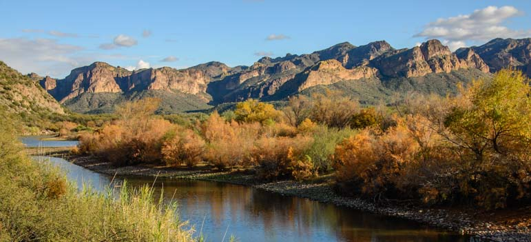 Blue Point in autumn colors on the Salt River in Arizona