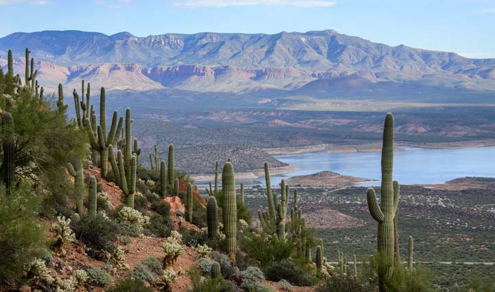 Roosevelt Lake view Tonto National Monument Cliff Dwellings Arizona