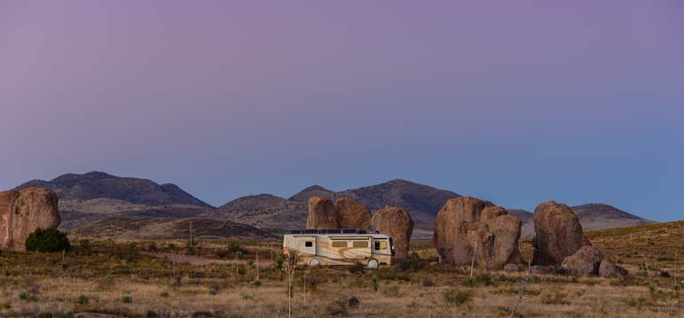 Motorhome RV camping City of Rocks New Mexico campground