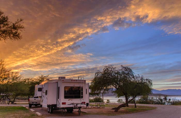 RV Arizona sunset fifth wheel trailer