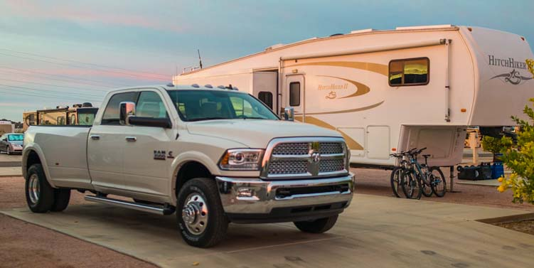 New 2016 Dodge Ram 3500 dually truck at ViewPoint RV Resort