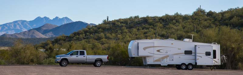Dodge Ram 3500 truck with 36' Hitchhiker FIfth wheel trailer RV