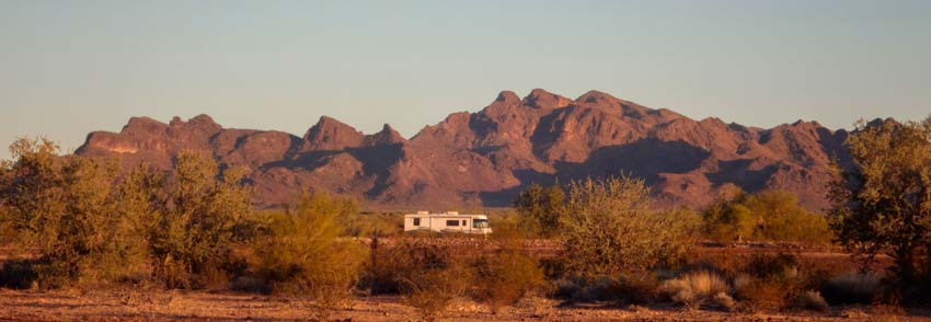 Motorhome RV Boondocking Quartzsite Arizona