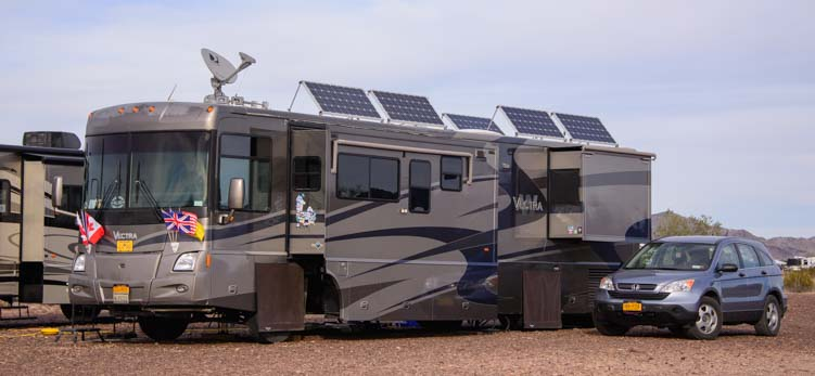 Solar power on a motorhome RV Quartzsite Arizona