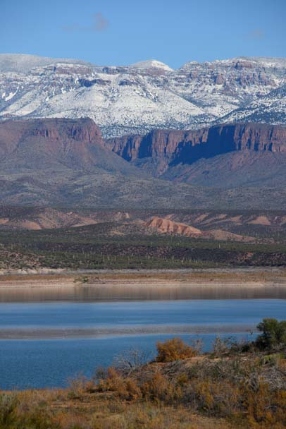 Tonto National Forest snow in mountains Roosevelt Lake Arizona