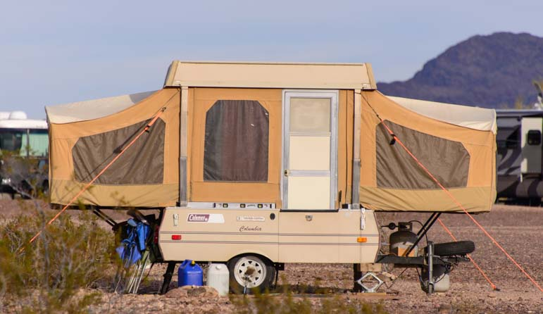 Antique popup tent trailer Quartzsite Arizona camping