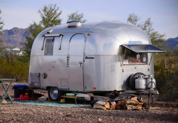 Antique Airstream Trailer Quartzsite boondocking