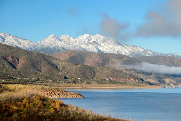 Four Peaks snow at Roosevelt Lake Arizona