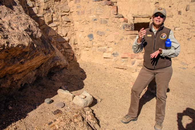 National Park Service volunteer leads tour of Tonto National Monument Cliff Dwellings Arizona