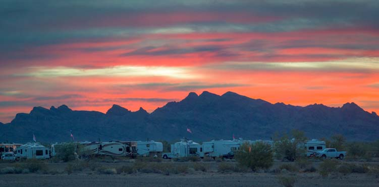 RV Hitchhikers dawn Quartzsite Arizona