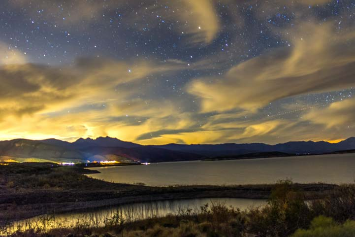 Roosevelt Lake starry sky at night Arizona