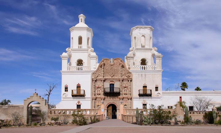 Front San Xavier del Bac Mission Tucson Arizona