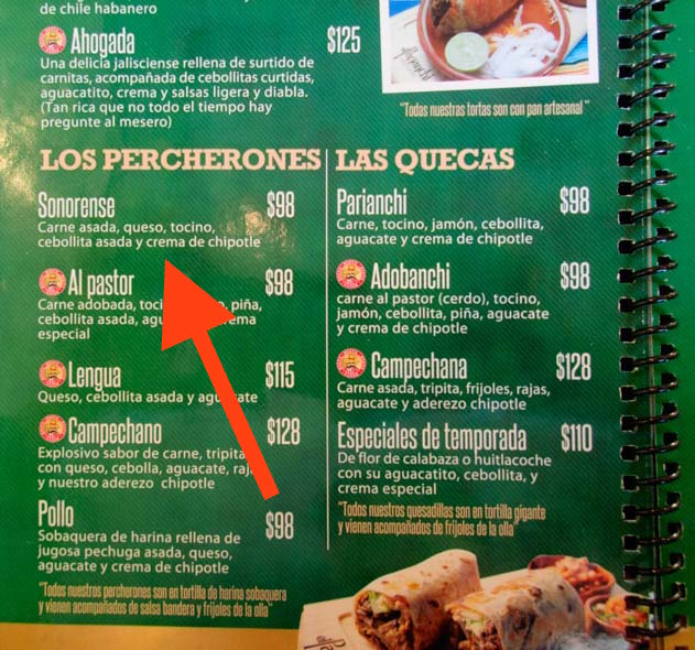 Menu El Parianchi restaurant Percherones San Luis Mexico