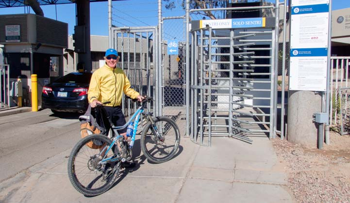 Bicycling over the Mexico border at San Luis Arizona