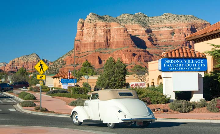 Fancy vintage car in Sedona Arizona