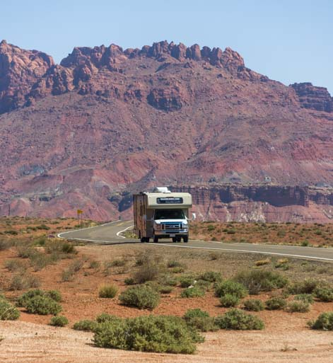 RV at Lees Ferry Arizona red rocks