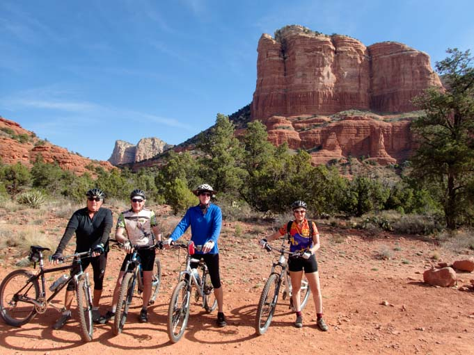 Ready to ride bikes on Bell Rock Pathway Sedona AZ
