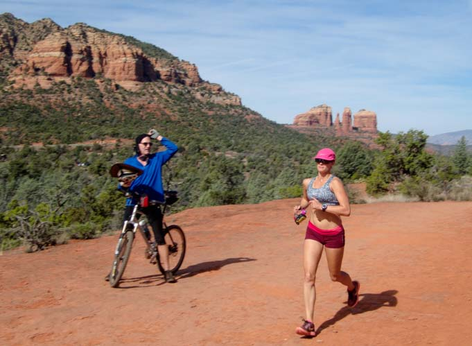 Jogger and biker Bell Rock Pathway Sedona Arizona