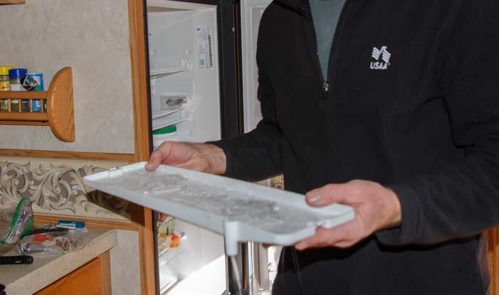 Ice in RV refrigerator drip tray