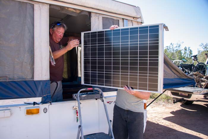 Popup tent trailer RV solar panel