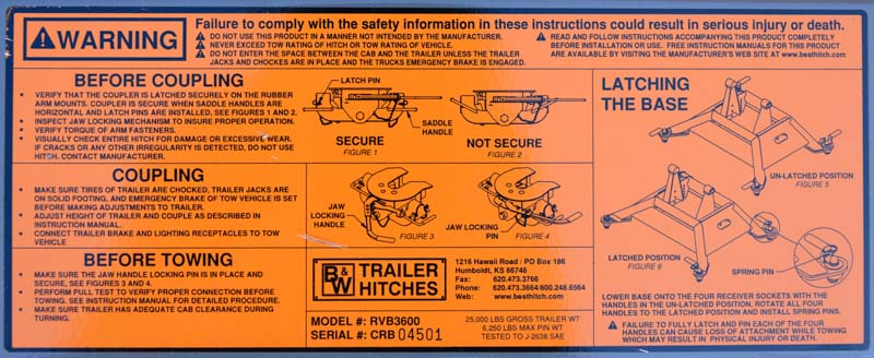 Instructions on B&W Companion fifth wheel hitch