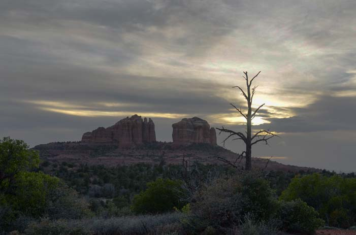 Cathedral Rock light in the sky Sedona AZ