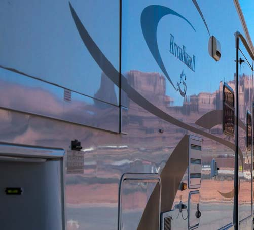 Monument Valley reflected in fifth wheel trailer RV