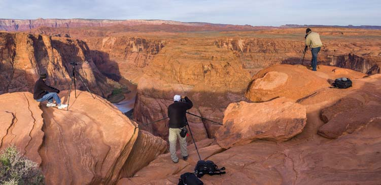 Photographers with tripods at Horseshoe Bend Arizona