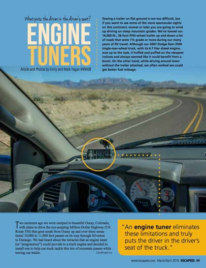 Escapees Magazine Engine Tuners Mar-Apr 2016 Emily Fagan