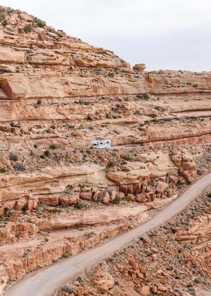 Class C motorhome climbs the Moki Dugway in Utah