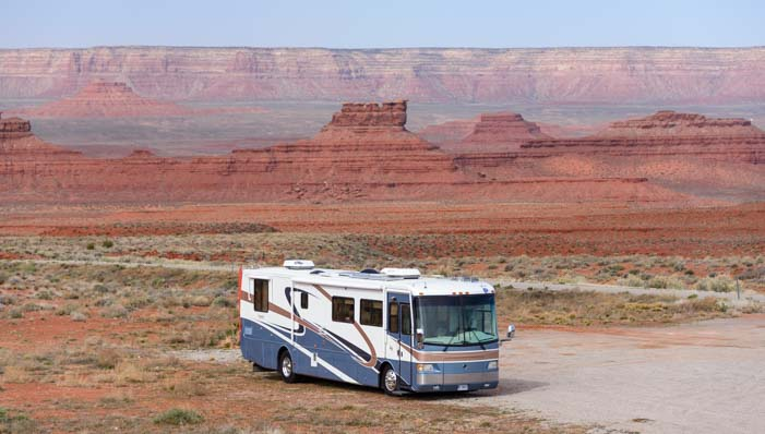 RV motorhome at Valley of the Gods Utah
