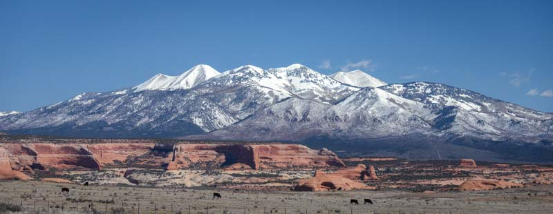 Moab Utah La Sal Mountains and red rocks