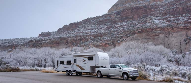 Fifth wheel RV in snow in Utah