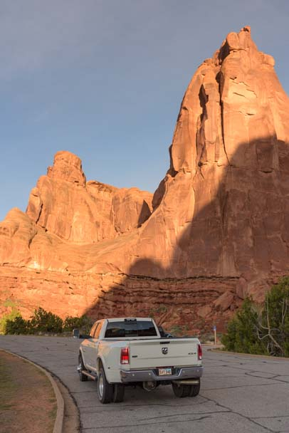 Truck at Arches National Park Utah