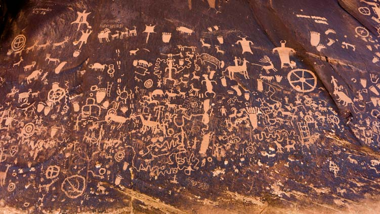 Newspaper Rock Ancient Indian Petroglyph Rock Art Panel in Utah