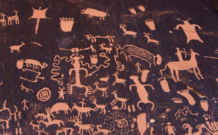 Newspaper Rock Art petroglyph panel Utah