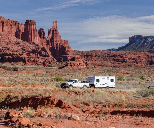 Travel trailer RV in Moab Utah Castle Valley Colorado River Scenic Drive