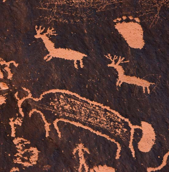 Rock Art Newspaper Rock Utah with deer, foot and bison