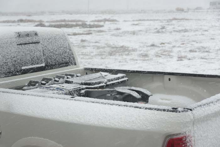 Snow on truck in Moab Utah