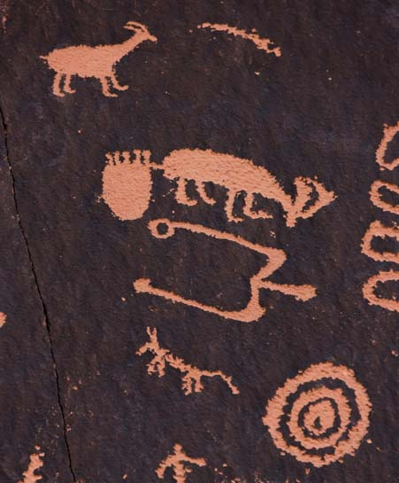 Rock art Newspaper Rock Utah Deer, feet geometric designs