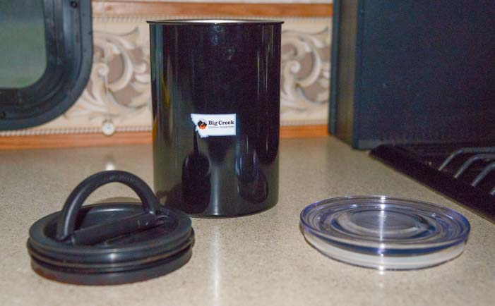 Airscape Coffee Cannister keeps coffee beans fresh
