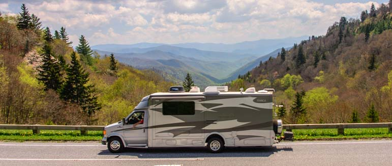 Motorhome on the Blue Ridge Parkway