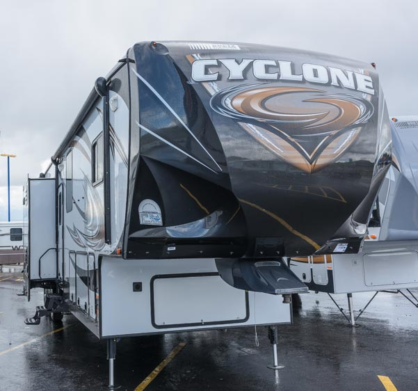 Cyclone Toy Hauler Fifth Wheel RV front